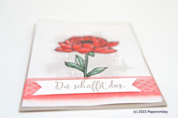 Rote Blume auf Pergamentpapiert von Stampin Up!