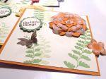 Kleine Karte mit Farnblättern und Blüten in Orange mit Produkten von Stampin up!