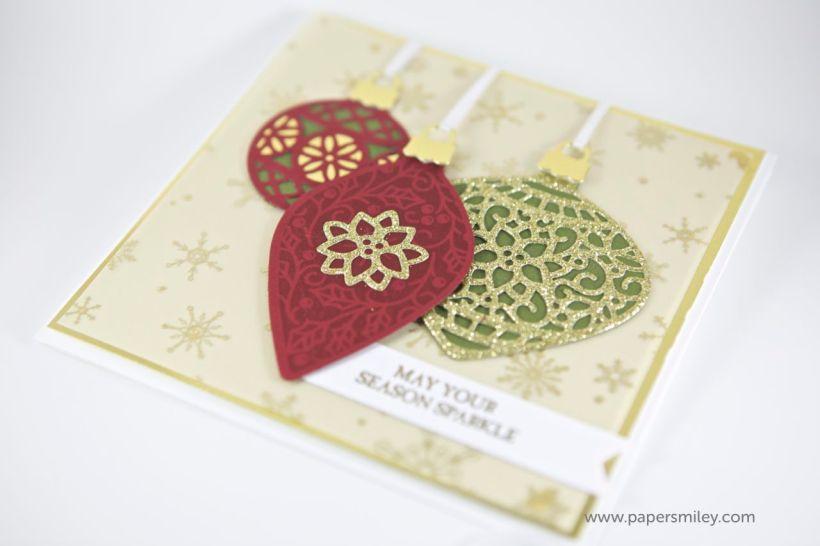 Goldene Weihnachtskarte mit Anhängern von Stampin Up!