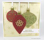 Goldene Weihnachtskarte mit Ornamenten von Stampin Up!