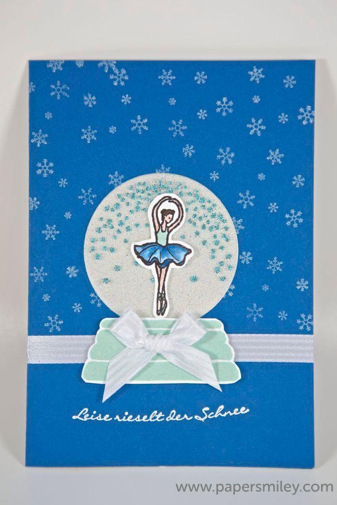 Schneekugel mit Ballerina mit Produkten von Stampin' Up!