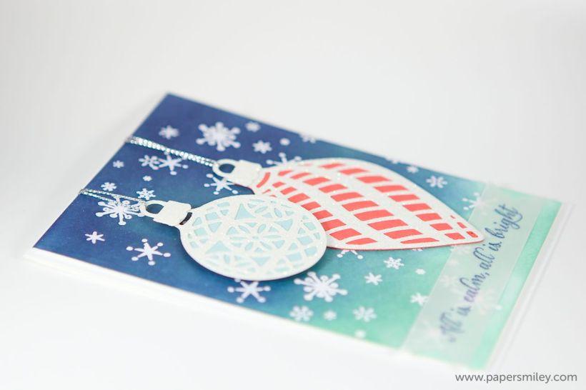 Verschneite Nacht mit Weihnachtskugeln von Stampin Up!