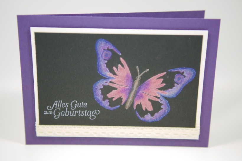 Watercolor Wings auf Schwarz mit Stampin Up!