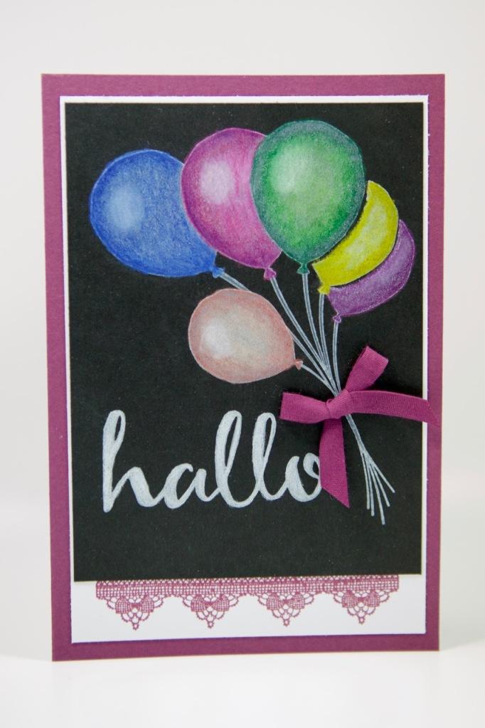 Partyballons auf Schwarz mit Stampin Up!