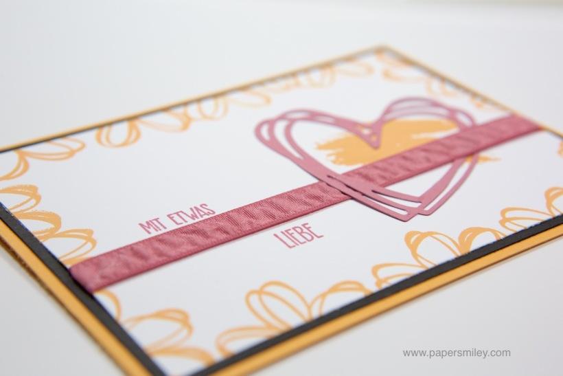 Einfache Grußkarte mit Herz und Stampin' Up!