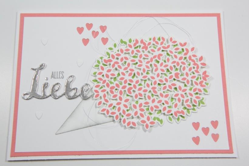 Blumenstrausskarte mit Wald der Worte von Stampin Up!