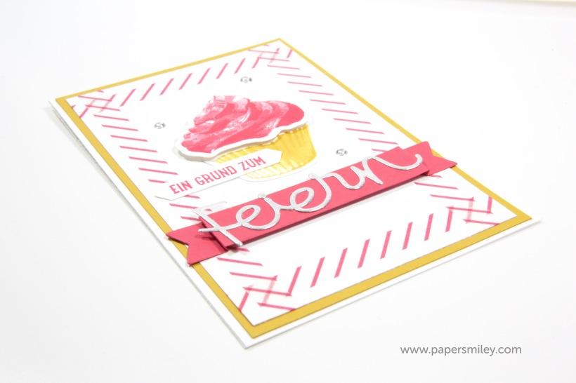 Einladungskarte mit Cupcake von Stampin Up