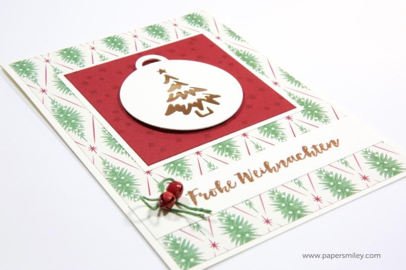 Weihnachtskarte mit Anhängern von Stampin Up