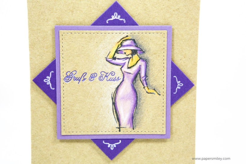 Karte mit Gruß und Kuss mit Stampin Up