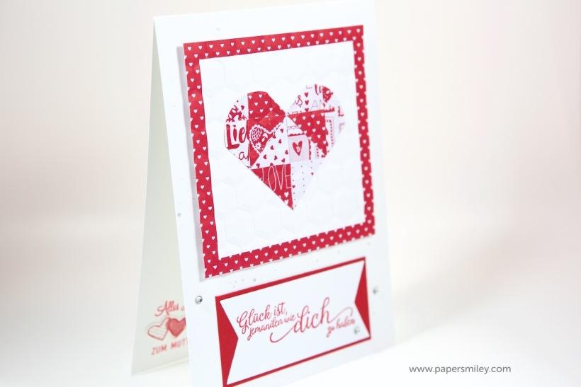 Muttertagskarte mit Quilt-Herz mit Stampin' Up!