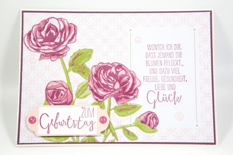 Rosenkarte mit Erinnerungen und mehr von Stampin Up!
