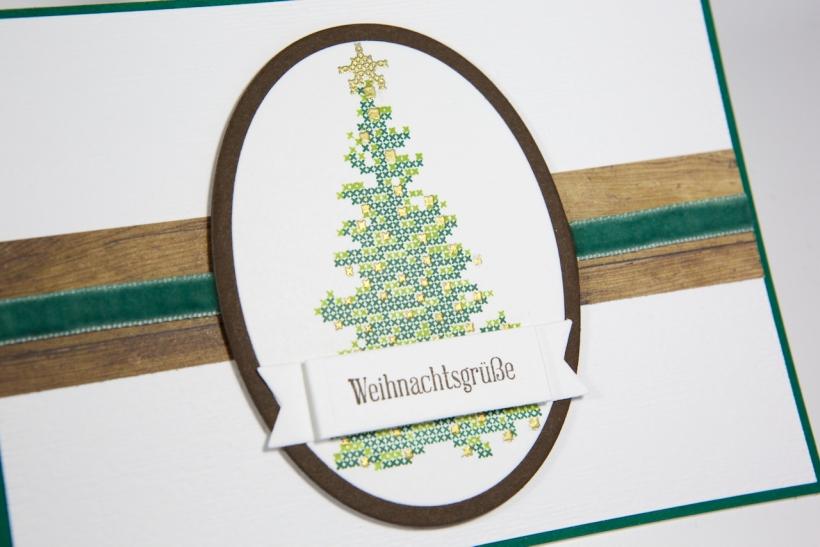 Weihnachtskarte mit besticktem Weihnachtsbaum mit Stampin' Up!