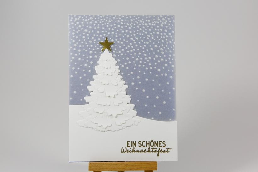 Pergamentkarte mit Tannenbaum mit Stampin' Up!