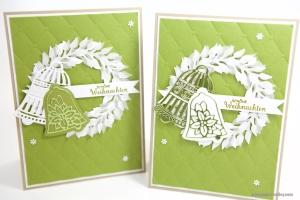 Weihnachtskarte mit Kranz und Glocken von Stampin' Up!